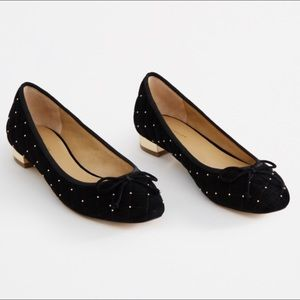 NWT Ann Taylor Quilted Studded Heeled Flats In 6
